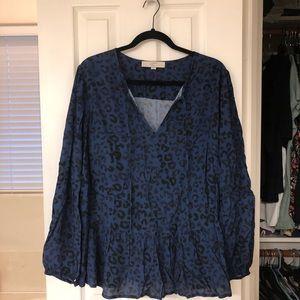 Dark blue and black cheetah shirt
